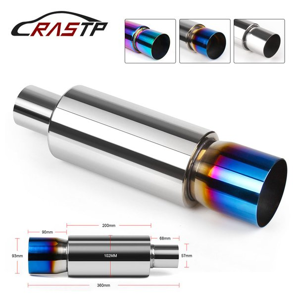 RASTP - Universal Auto Car Muffler Stainless Steel Silencer Exhaust Muffler End Tip Pipe 360mm Exhaust Tip Muffler RS-CR1008