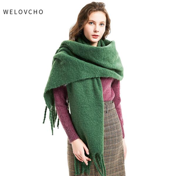 FASHION Da Donna Inverno Caldo Cashmere Seta Tinta Unita Lungo Sciarpa Avvolgere Pashmina Scialle
