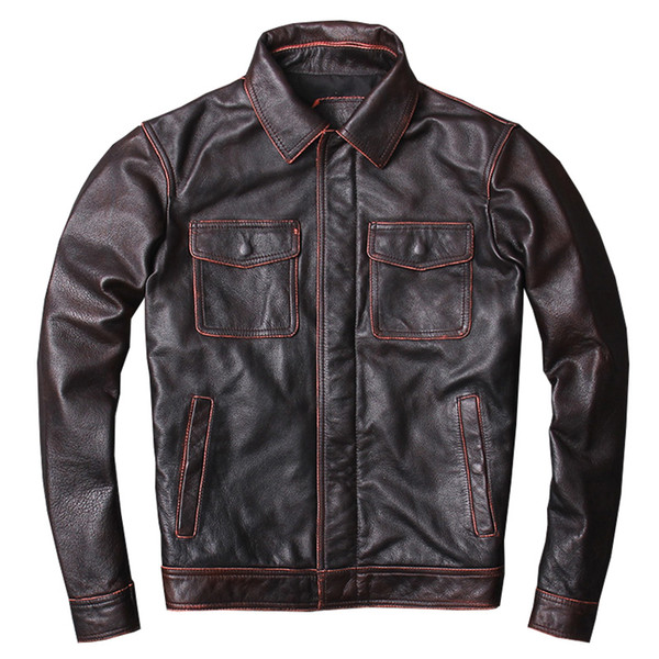 Großhandel 2019 Vintage Brown Männer Safari Stil Lederjacke Plus Größe XXXXL Echtes Rindsleder Frühling Dünner Beiläufiger Ledermantel FREIES