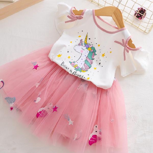 Chicas 2019 Verano Nueva bebés sistemas de la ropa de dibujos animados estilo de la moda del unicornio camisetas estampadas Net + velo de vestir chicas 2Pcs