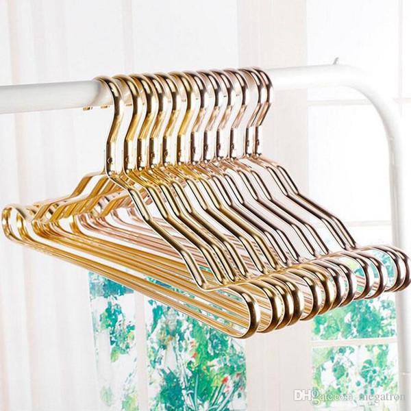 Metallo Appendini adulti Suit ispessimento Shelf asciugare i vestiti Rack Anti Slittamento Curvo Design Coat Hanger senza soluzione di continuità in oro rosa Rack