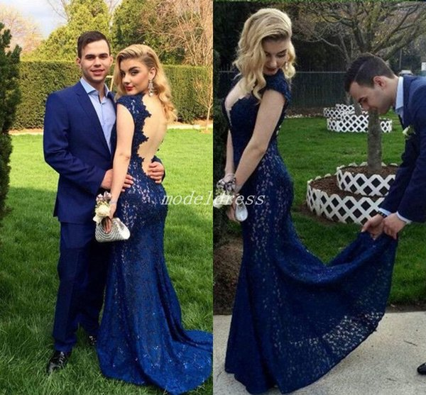 See Through Blue Mermaid Evening Dresses Deep V Neck Cap Sleeve Illusion Bodice Appliques Lace Sweep Train Prom Party Gowns Celebrity Dress