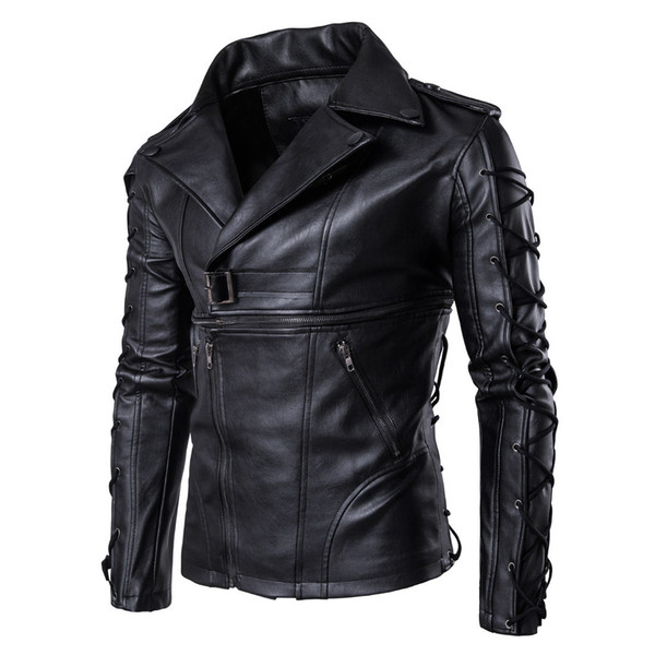 Brand New Motorcycle Male PU Leather Jackets PU Casual Lapel Neck Slim Fit Lether Inverno Couro Mens Stand Collar Jacket 5XL J1811174