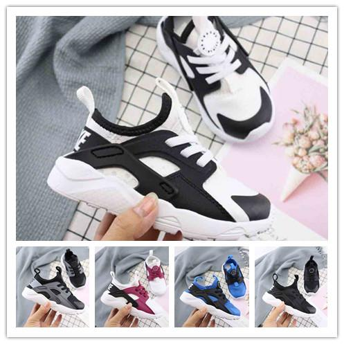 (box)2019 kids Huarache 1.0 4.0 Running Shoes Top Quality Stripe Balck White Oreo Sport Shoes Designer Sneakers Trainers 22-35