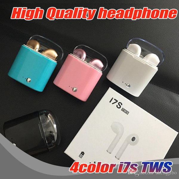 50PCS/Lot 100% High Quality Wireless Headset Bluetooth Earpieces i7S Tws Earbuds Twins Earphone With Charging box For Smart phone
