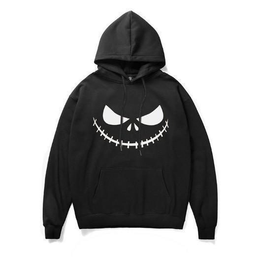 Hoodie Men's Large Size Hooded Lace Halloween Smile Face 3D Digital Print Sweater Loose Long Sleeve casual