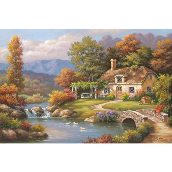 High quality oil Paintings canvas art Cottage Stream beautiful landscapes painting for living room Hand painted