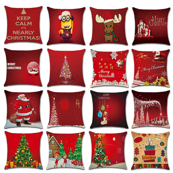 Red Christmas Cushion Cover Pillowcase Home Linen Christmas Pillow Cover 18X18 Inch Xmas Tree Santa Claus Print Pillow Cover DBC VT0822