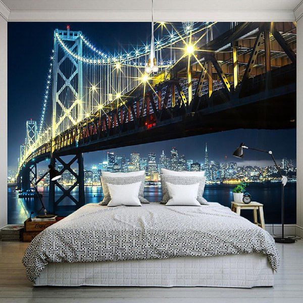 Custom 3D Wall Mural Wallpaper City Bridge At Night View Living Room Bedroom Sofa TV Backdrop Wallpaper Home Decoration Wall Art
