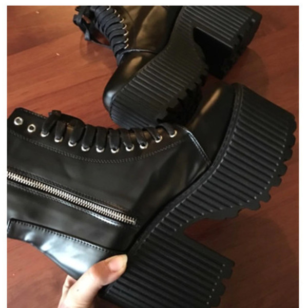 Fashion Ankle Boots For Women Platform Shoes Punk Gothic Style Rubber Sole Lace Up Black Spring Autumn Chunky Boots Woman