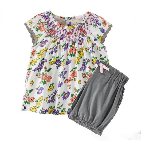 kids designer clothes girls Summer sets 100% Cotton girl set summer girl Flower or Polka Dots Print elegant casual t shirt + short 2-7T