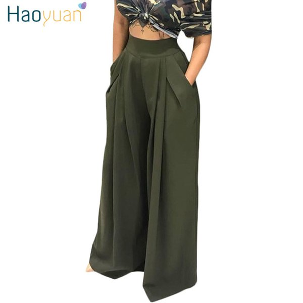 Haoyuan High Waist Wide Leg Pants Women Autumn Army Wine Red Yellow Trousers Streetwear Casual Loose Pocket Party Palazzo Pants Y19071601