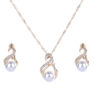 CHEAP STRONGLY RECOMMENDED SWAN NECKLACE EAR STUD 2IN1 JEWELRY SET CZ RHINESTONE WEDDING BRIDAL VEIL ACCESSORIES SHINING EARRING NECKLACE