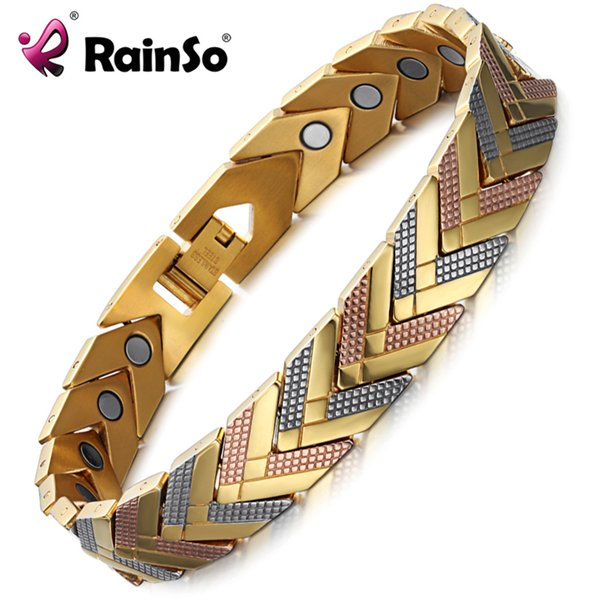Rainso Health Magnetic Bracelet Bangle For Women Hot Sale Stainless Steel Bio Energy Bracelet Gold Fashion Jewelry Y19051101