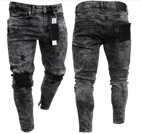 Diseñador de pantalones vaqueros rotos de la calle pantalones hiphop para hombres flacos Distressed slim marca famosa diseñador biker hip hop swag negro slim jeans