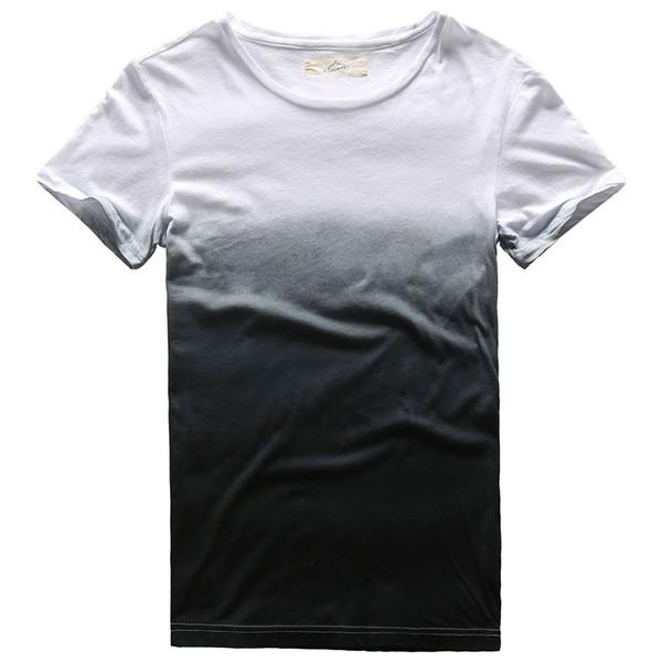 Novelty Drop Dye T Shirt for Men Crew Neck Short Sleeve Male Top Tees Hip Hop Cotton Fashion Tshirt Black Blue Red Short Sleeve