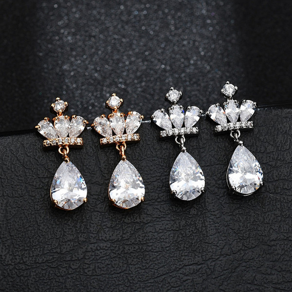 High Quality Fashion Crown Women Dangly Earings with Cubic Zircon Drop Earrings Boucles D'oreilles Brincos Jewelery Gift