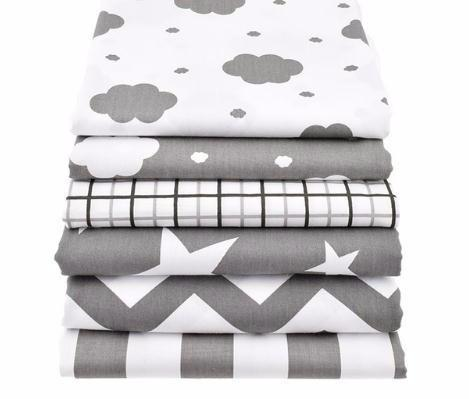 Clouds&Star Printed Cotton Fabric For Sewing Quilting Gray Baby Bed Sheets Sleepwear Children Dress Skirt Material