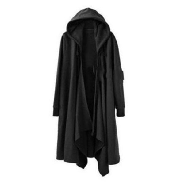 New Gothic Plus Size Trench Hoodies Long Sleeve Stand Collar Slim Shirt Casual Black Korean Version Cloak Loose Jacket Cardigan
