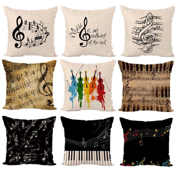 Funda de almohada de lino Impresión Digital Sofá Abrazo Fundas de almohada Nota Musical Funda de cojín Colorido Moda Decoración Del Hogar 4 5yp D1