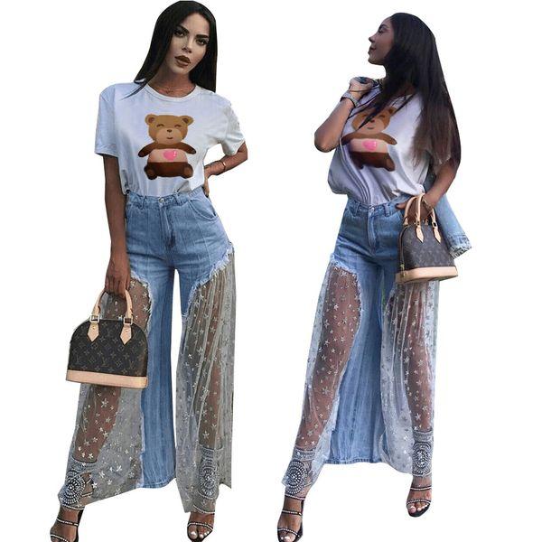 Jeans wear estrela de cinco pontas Personalidade Gauze emenda Broad patas Calças rebarbas das mulheres das estrelas Perspectiva