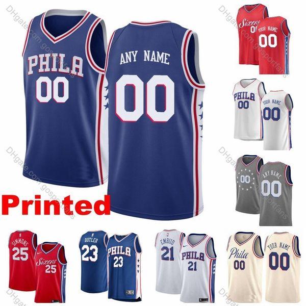 new styles dbbe5 22c64 2019 2019 Printed 76ers Custom Joel Embiid Al Horford Tobias Harris Ben  Simmons Josh Richardson Scott Thybulle Philadelphia Basketball Jersey From  ...