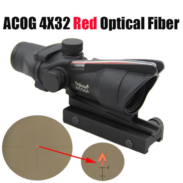الصيد بندقية نطاق أكغ 4x32 الألياف البصرية ريد دوت مضيئة شيفرون الزجاج المحفور شبكاني التكتيكية ريال الأحمر الألياف البصرية البصر