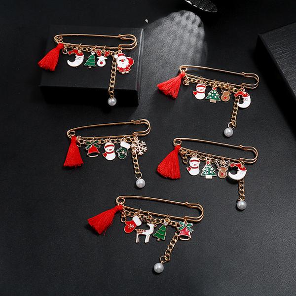 Noël bonhomme de neige Tassel Pins Cadeaux Elk Père Noël Gants Encadré Cartoon Red Hat Brooches Joyeux Noël Broche Cadeaux de partie