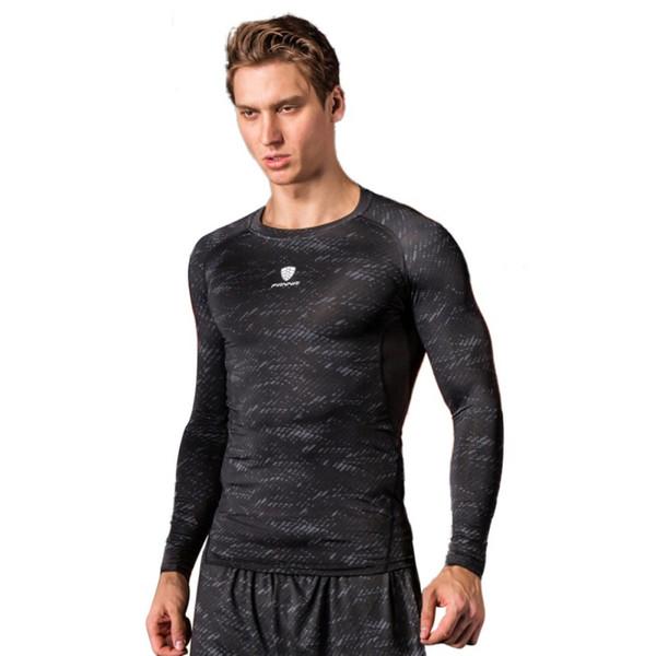 Hombres culturismo deporte delgado para hombre New O Athletic Camisa de manga larga con cuello de gimnasio Camisetas para correr entrenamiento Top T Camisas de fitness