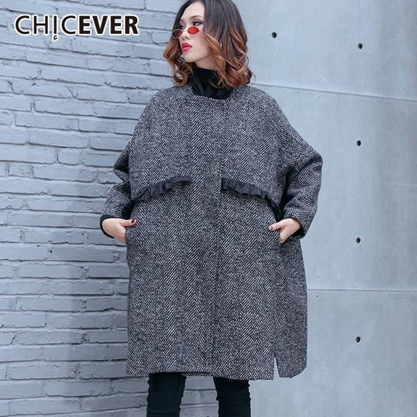 CHICEVER Sonbahar Kış Çizgili Palto Kadın Ceketler Kadınlar Için Uzun Kollu Gevşek Boy Bölünmüş Hem kadın Ceket Moda Giyim