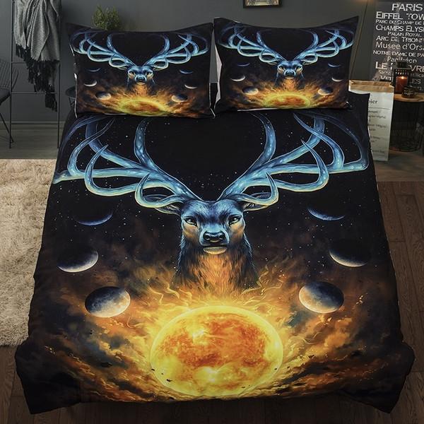 New 3pcs Guarda The Sunrise Deer copripiumini Imposta biancheria da letto Set Bedroom Decor