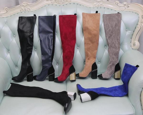 Diz çizme Nefes Elastik bayanlar üzerinde Moda lüks tasarımcı kadın yüksek topuk Stretch 8 cm kış botları Süet