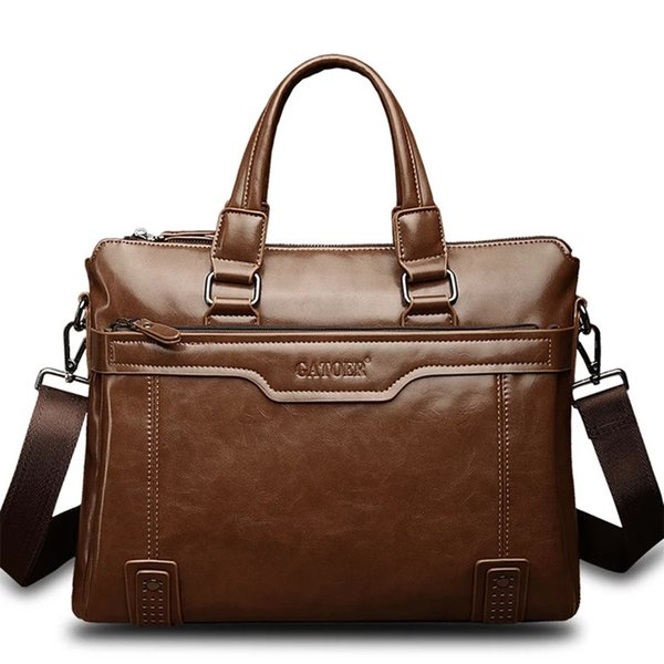 2019 Mens 14 inch Laptop Briefcases Leather PU Hand bags Business Dress Briefcase Shoulder bag Computer Work Gentle Men's Bags