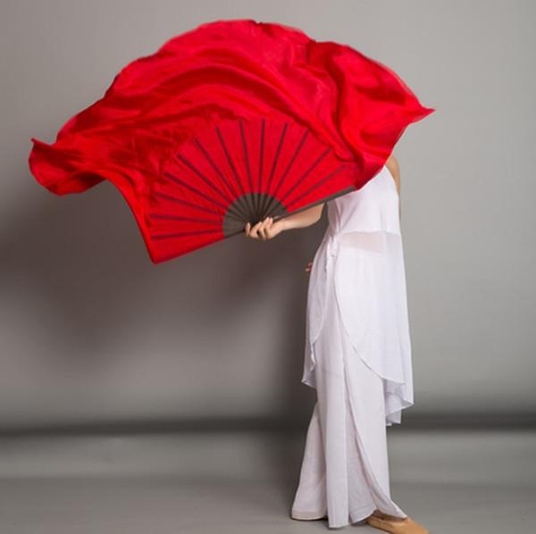 Actividades Negro costillas de bambú 1 par de seda real del ventilador velos de seda 100% de danza del vientre yangko Fan Dance Folk de la Escuela de Arte de Performance