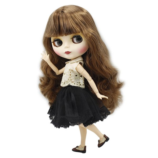 White Skin Blyth Nude Doll 1/6 Joint Body Small Breast Brown Hair Matte Face for DIY ICY Neo gift toy No.260BL9158
