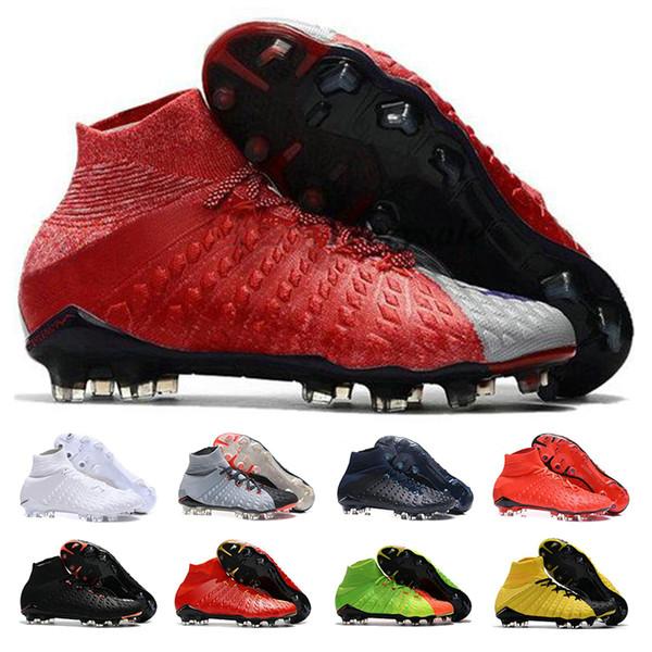 Hypervenom Phantom III chaussures de football Pour Hommes Femmes Intérieur Haute Cheville TF Noir Blanc Neymar Football Bottes Crampons Chaussures pour Hommes
