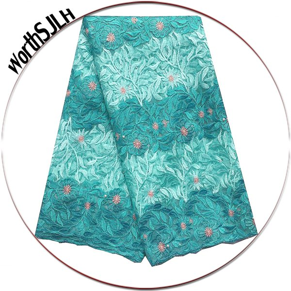 2019 High Quality African Lace Fabric African Wedding Tulle Lace Fabric Aqua Green French Bridal Lace Fabric For Dresses