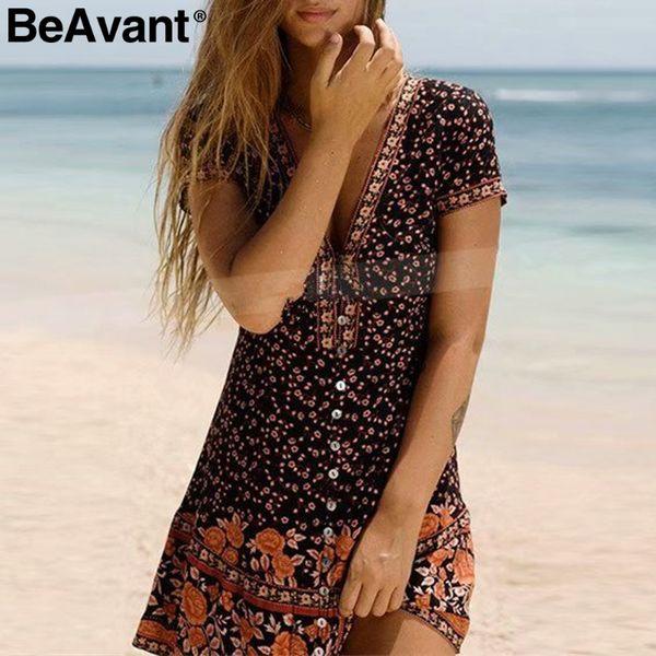 Short Mini Printed Dresses Summer V Neck Open Waist Vacation Dress