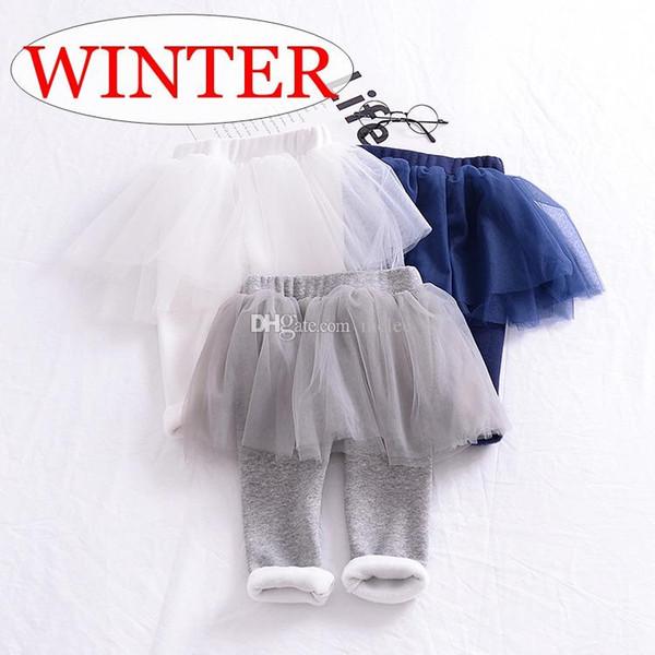 INS XMAS Hediye Çocuk kış Kadife Pantolon tutu tozluk pp pantolon 3 renkler Bebek fırfır Pantolon seçin