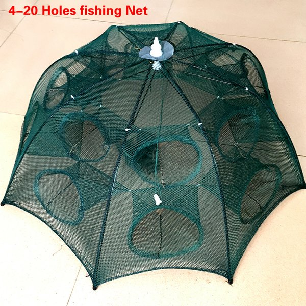 Accessories Fishing NEWEST 4-20 Holes Automatic Folding Fishing Net Shrimp Cage Nylon Foldable Crab Fish Trap Cast Net Cast Folding