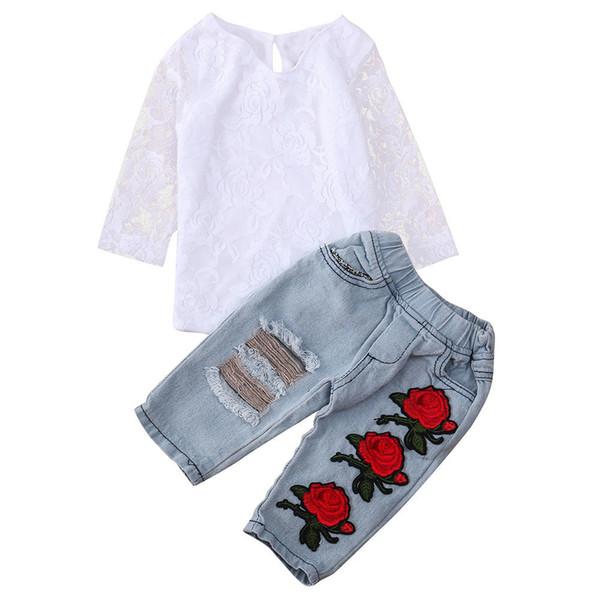 fd5649c2de9aa Boa qualidade Infantil Do Bebê Recém-nascido Roupas Meninas Definir Rendas  Flor Tops Camisa + Calças Roupas Conjuntos de roupas de Inverno para  crianças ...
