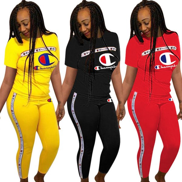 Frauen Champions Brief Trainingsanzug Kurzarm T-shirt Tops + Hosen Leggings 2 teiliges Set CHAMPI T-Shirt Outfit Jogger Sportswear Kleidung S-3X