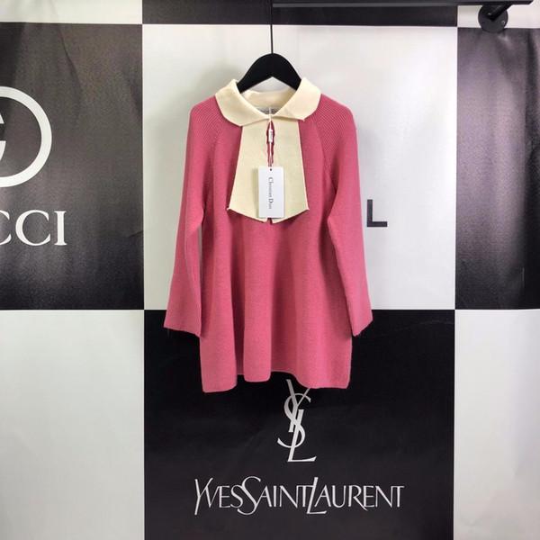 Детская одежда бренд одежды девушки лук свитер платье 2019 года осень новые дети иностранный ветер слово вязать юбка детская одежда