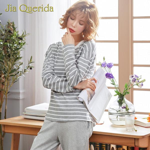 Pijamas pijamas para senhora cinza listrado mangas compridas calças terno o colarinho algodão outono primavera lazer mulheres roupas loungewear