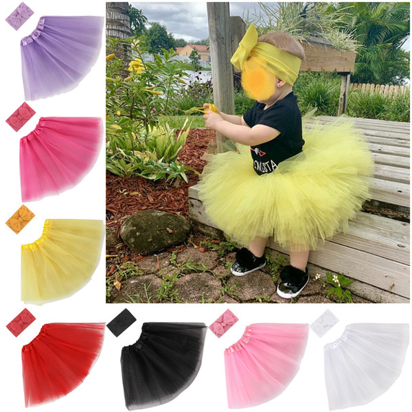 2020 New children's skirt butterfly knot hair band combination set baby girls princess photography puffy Tutu Skirt hairband set
