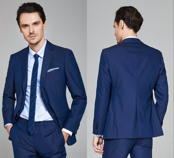 Fashion Dark Blue Groom Tuxedos Shawl Lapel Two Button Three Pockets Groom Suits Extremely Cool Best Man Suits (Jacket+Pants) SH6204