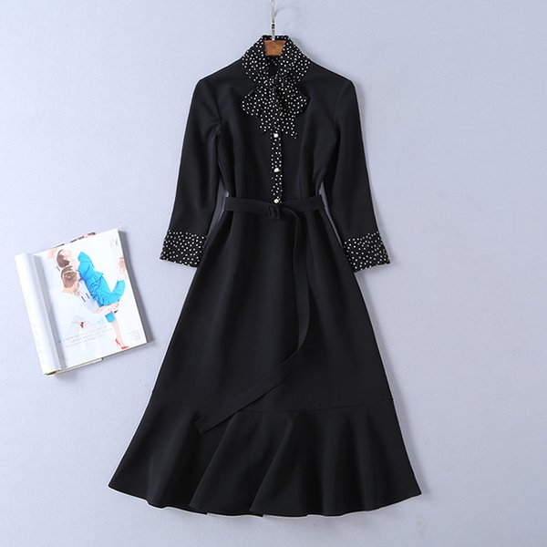 2019 Spring Three-Quarter Sleeves Crew Neck Polka Dot Print Lady With Ribbon Tie-Bow Mid-Calf One Piece Dress Runway Dresses D19A1927