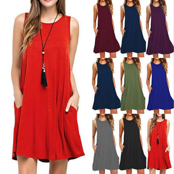 top popular Women fashion dress Summer new solid color round neck sleeveless vest beach dress off shoulder mini dress wholesale 2020