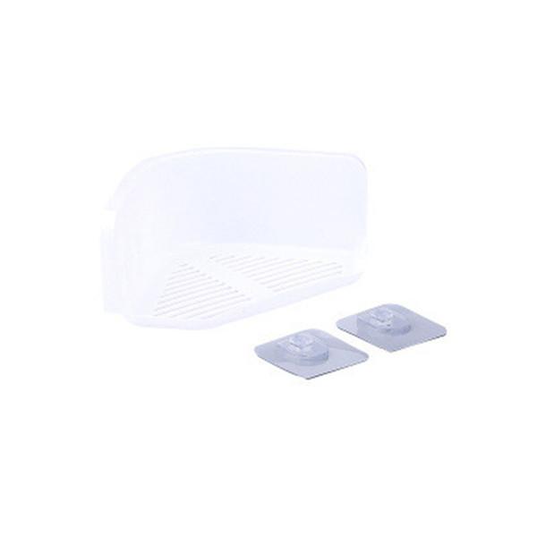 Corner Storage Rack Shower Shelf Organizer for Kitchen Bathroom Home Bathroom Supplies Multi Color Plastics Seamless Adhesive Gray