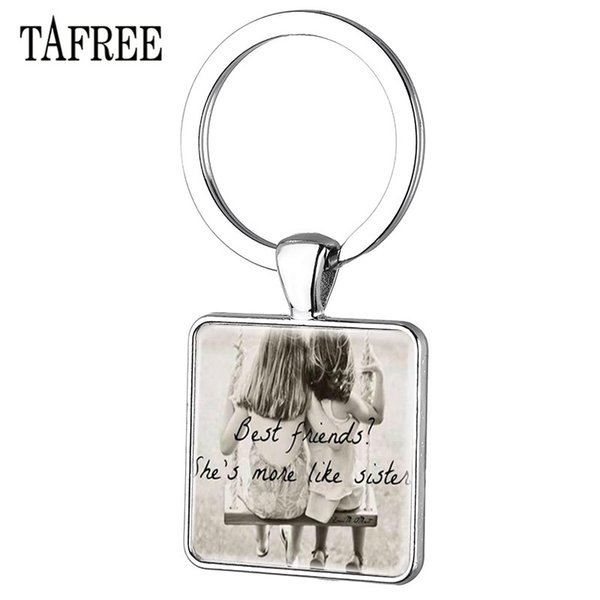 TAFREE Hot Sale My Sister Best Friends Keychain Square Charm Pendant Keyrings Holder Girls Special Jewelry Gifts BF03
